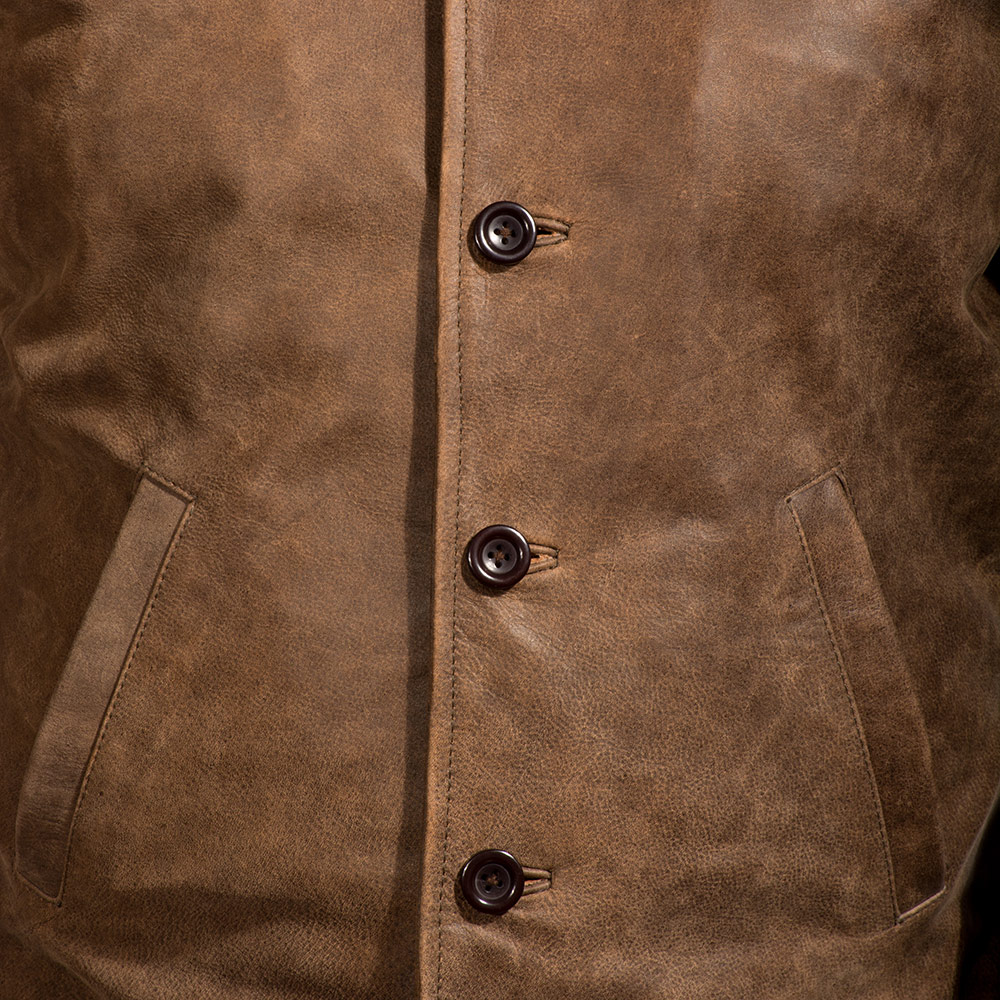 Mens Waffle Brown Leather Jacket 4
