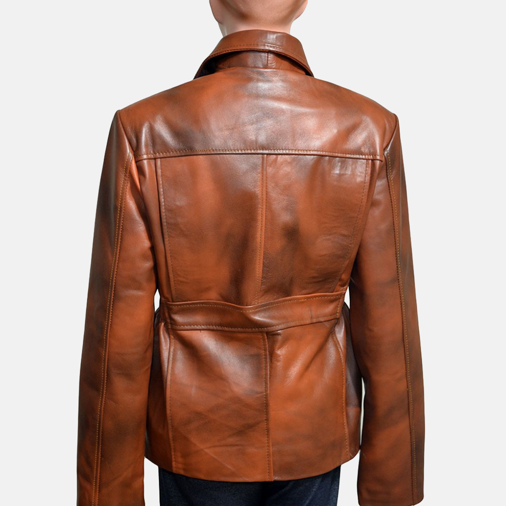 Womens Mildred Vince Brown Leather Jacket 4