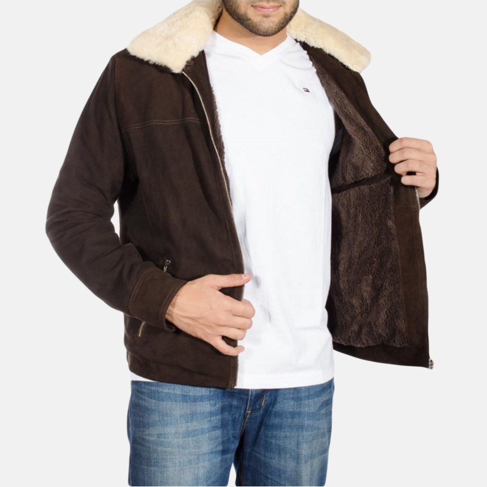 Mens Coffner Brown Shearling Fur Jacket 4