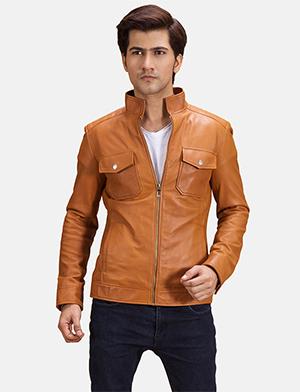 Mens Voltex Tan Leather Biker Jacket