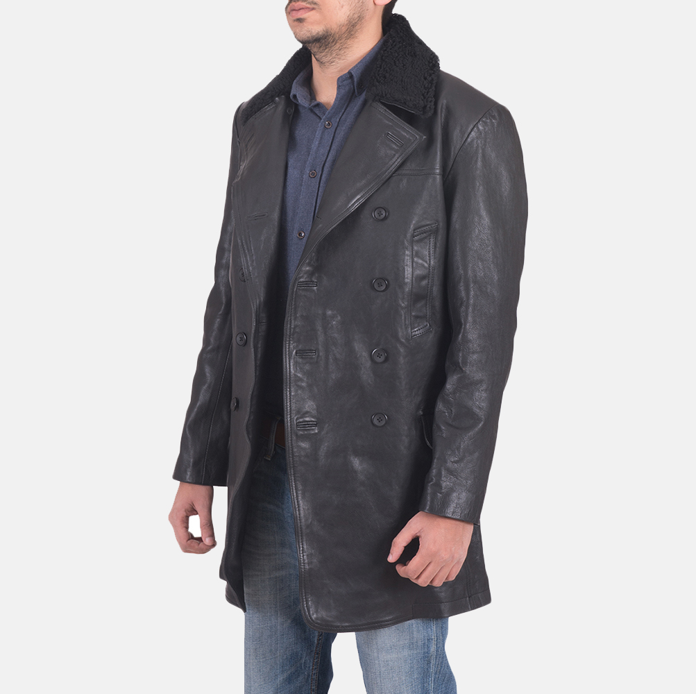 Mens Pierce Shearling Black Leather Jacket 3