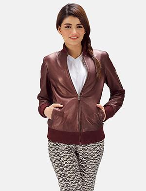 Womens Reida Maroon Leather Bomber Jacket