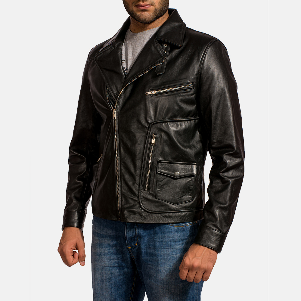 Mens Rocker Black Leather Biker Jacket 3