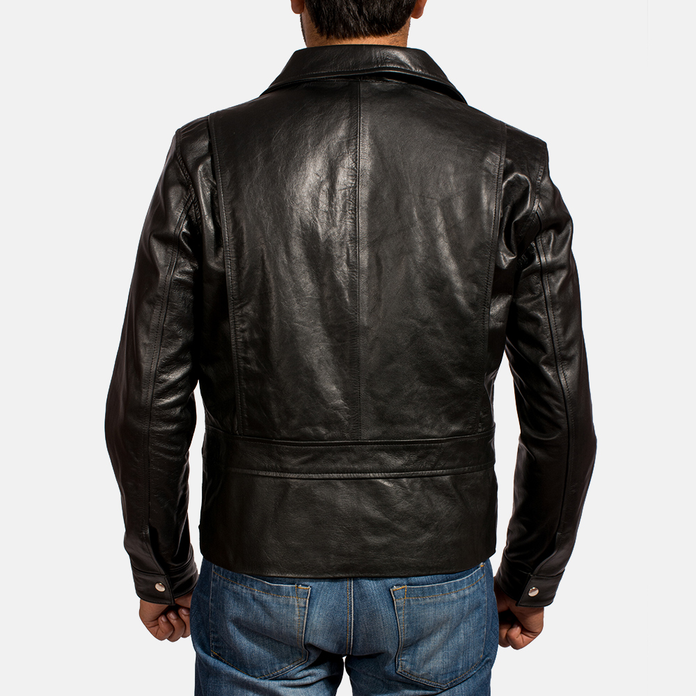 Mens Rocker Black Leather Biker Jacket 5