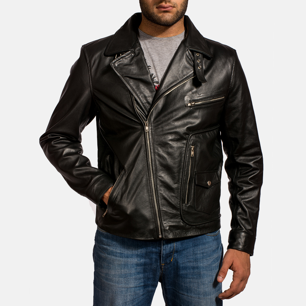 Mens Rocker Black Leather Biker Jacket 2