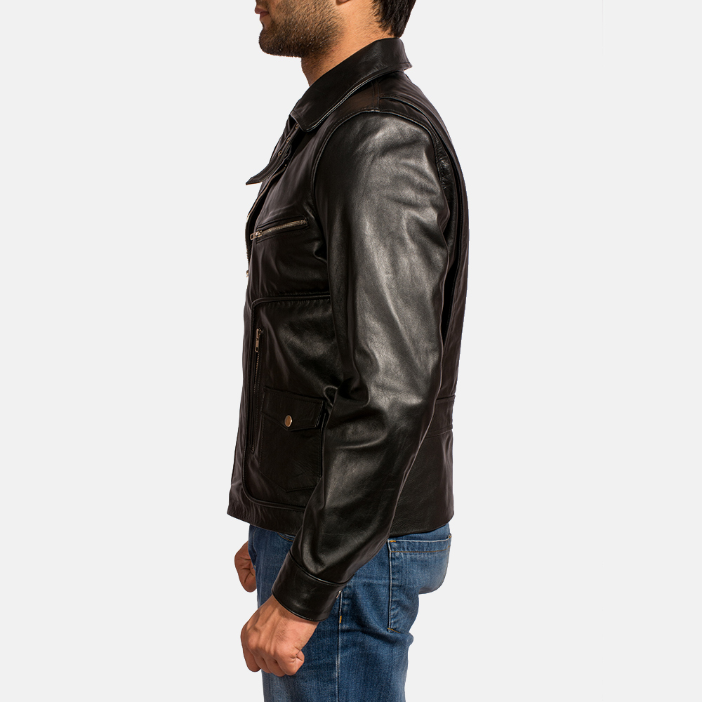 Mens Rocker Black Leather Biker Jacket 4
