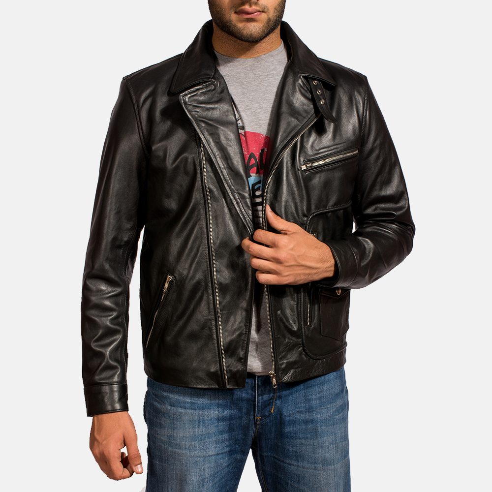 Mens Rocker Black Leather Biker Jacket 1
