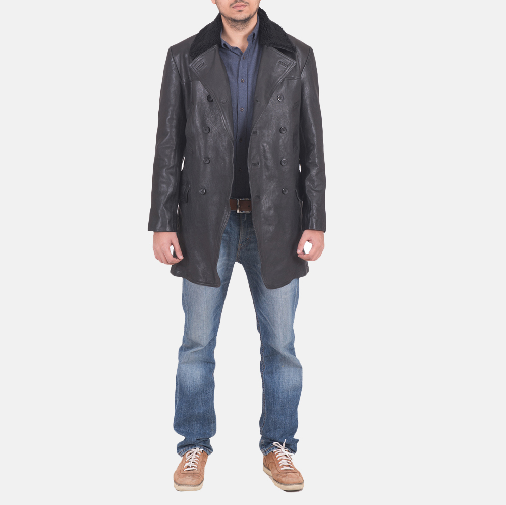Mens Pierce Shearling Black Leather Jacket 2