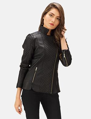 Womens Orient Grain Quilted Black Leather Biker Jacket