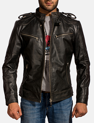 Mens Reckless Black Leather Biker Jacket