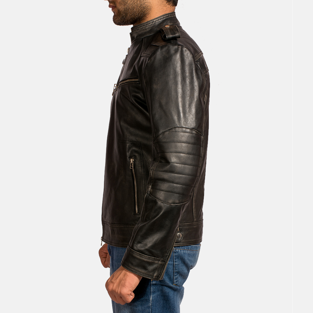Mens Reckless Black Leather Biker Jacket 4