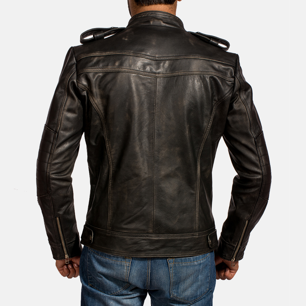 Mens Reckless Black Leather Biker Jacket 5