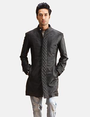 Mens Midlander Quilted Black Leather Coat