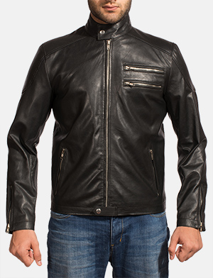 Mens Onyx Black Leather Biker Jacket