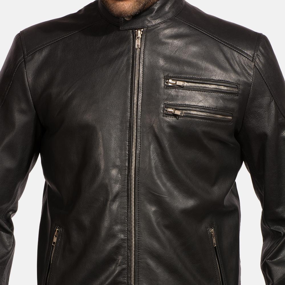 Mens Onyx Black Leather Biker Jacket 3