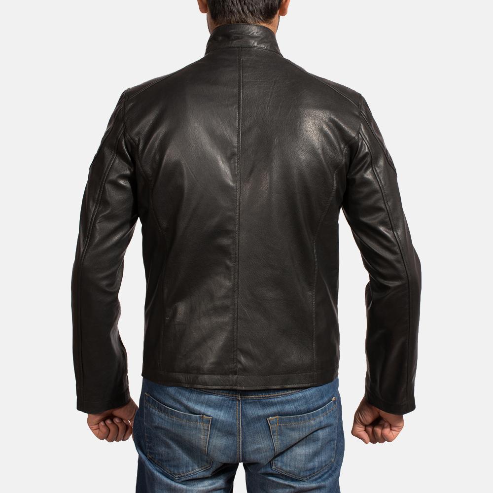 Mens Onyx Black Leather Biker Jacket 5