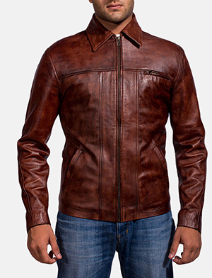 Mens Abstract Maroon Leather Jacket