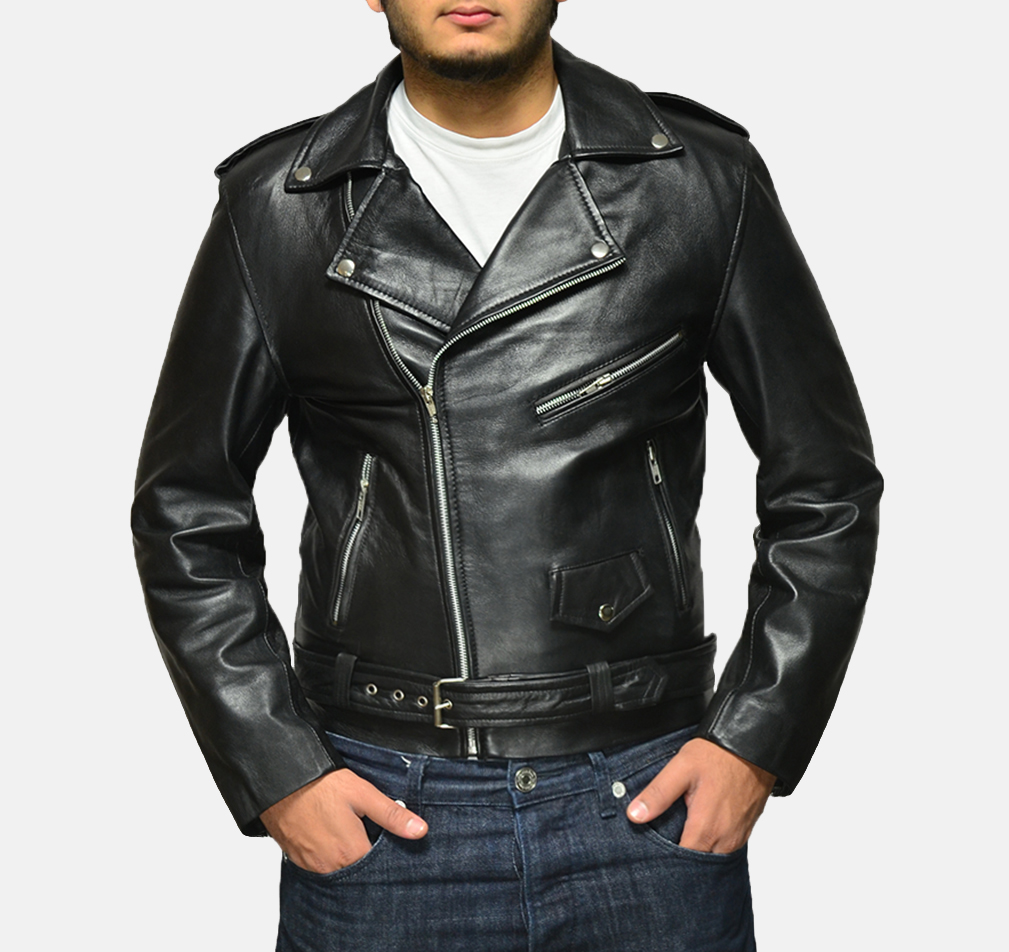 Mens Allaric Alley Black Leather Biker Jacket 1