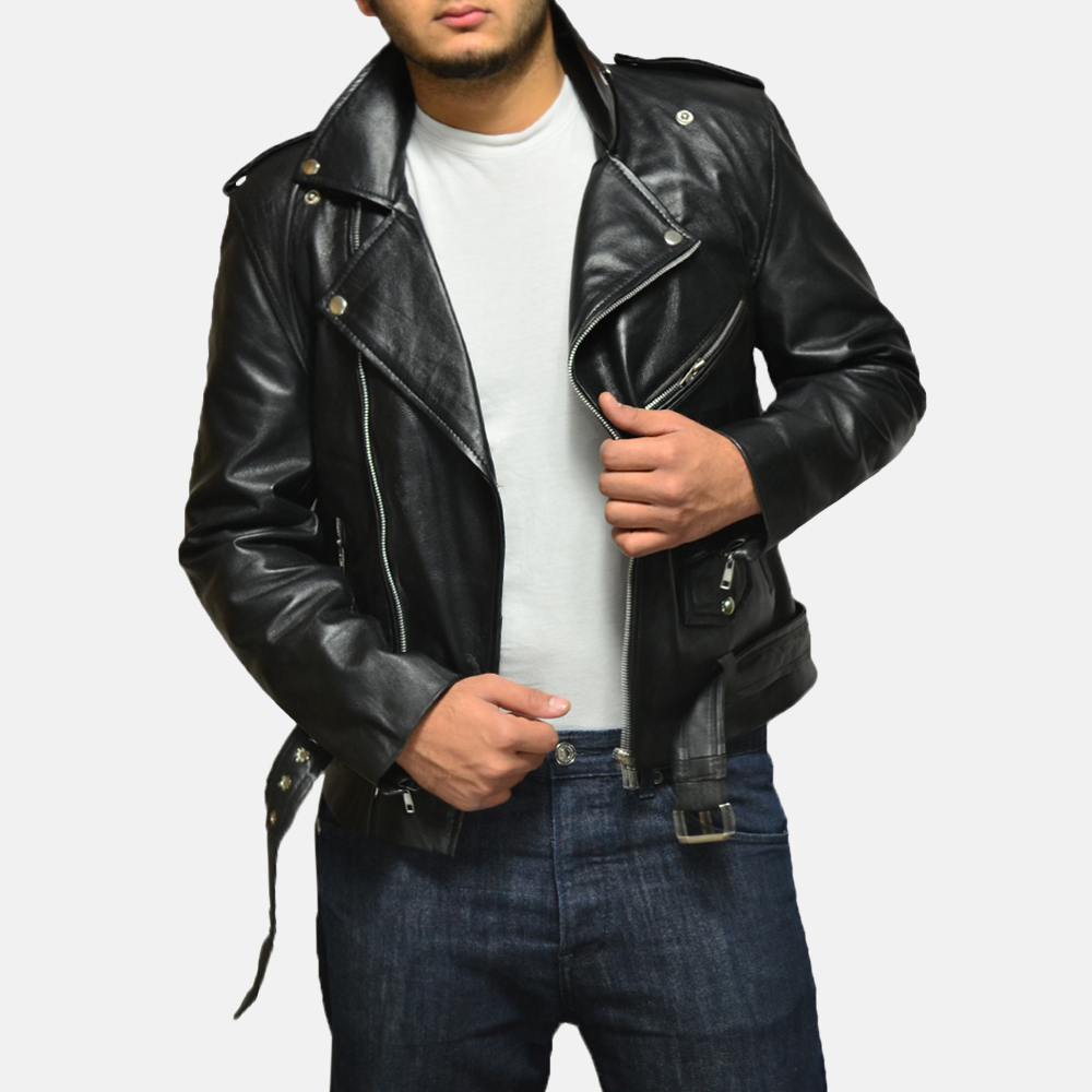 Mens Allaric Alley Black Leather Biker Jacket 2