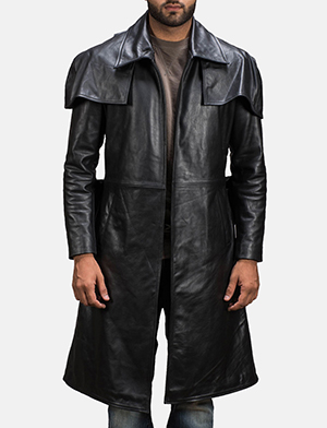 Mens Black Leather Duster Made Of Premium Cowhide Leather