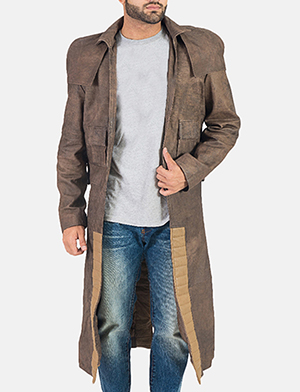Mens Army Original Brown Leather Duster