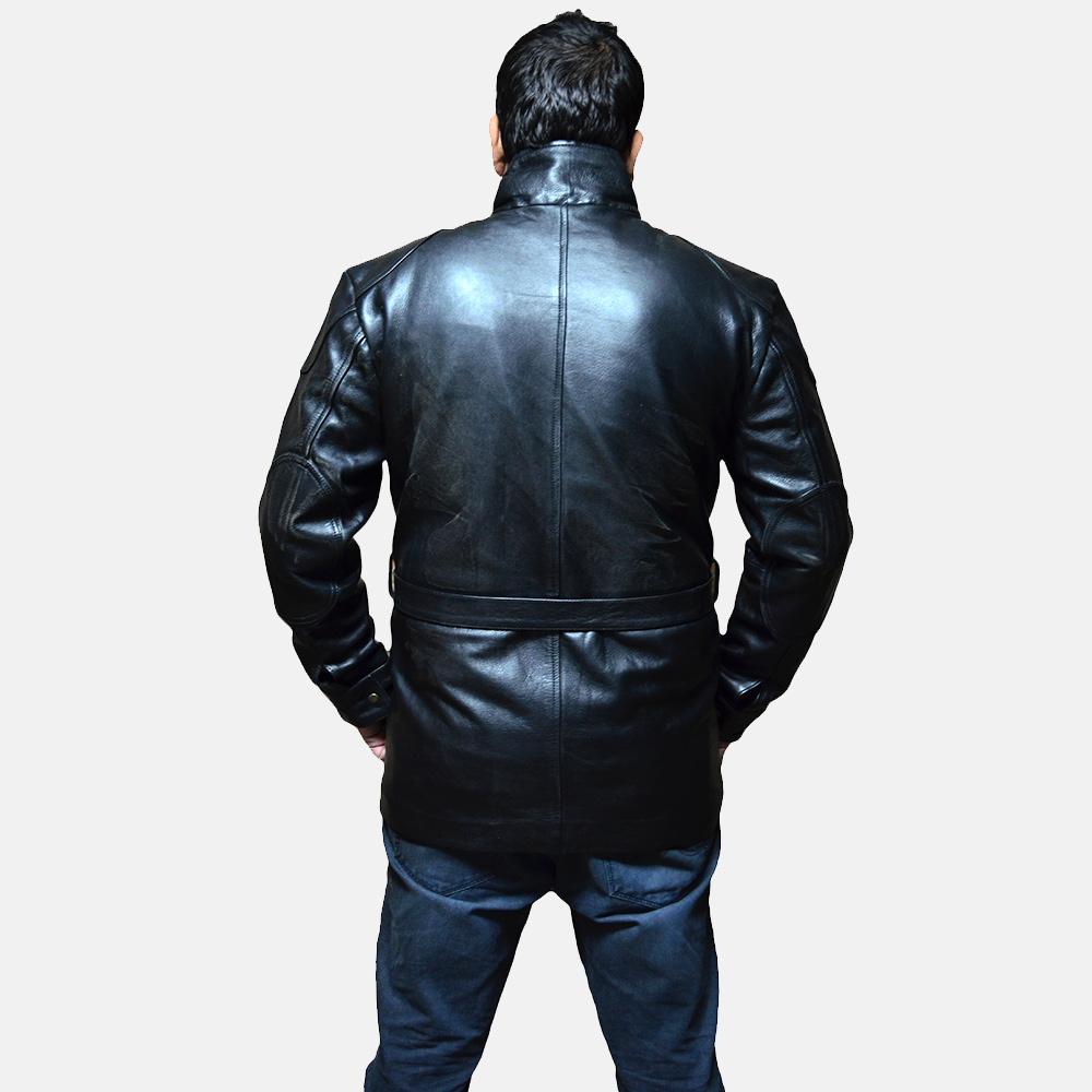 Mens Dolf Black Leather Jacket 4