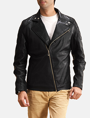 Mens Danny Jargo Quilted Black Leather Biker Jacket
