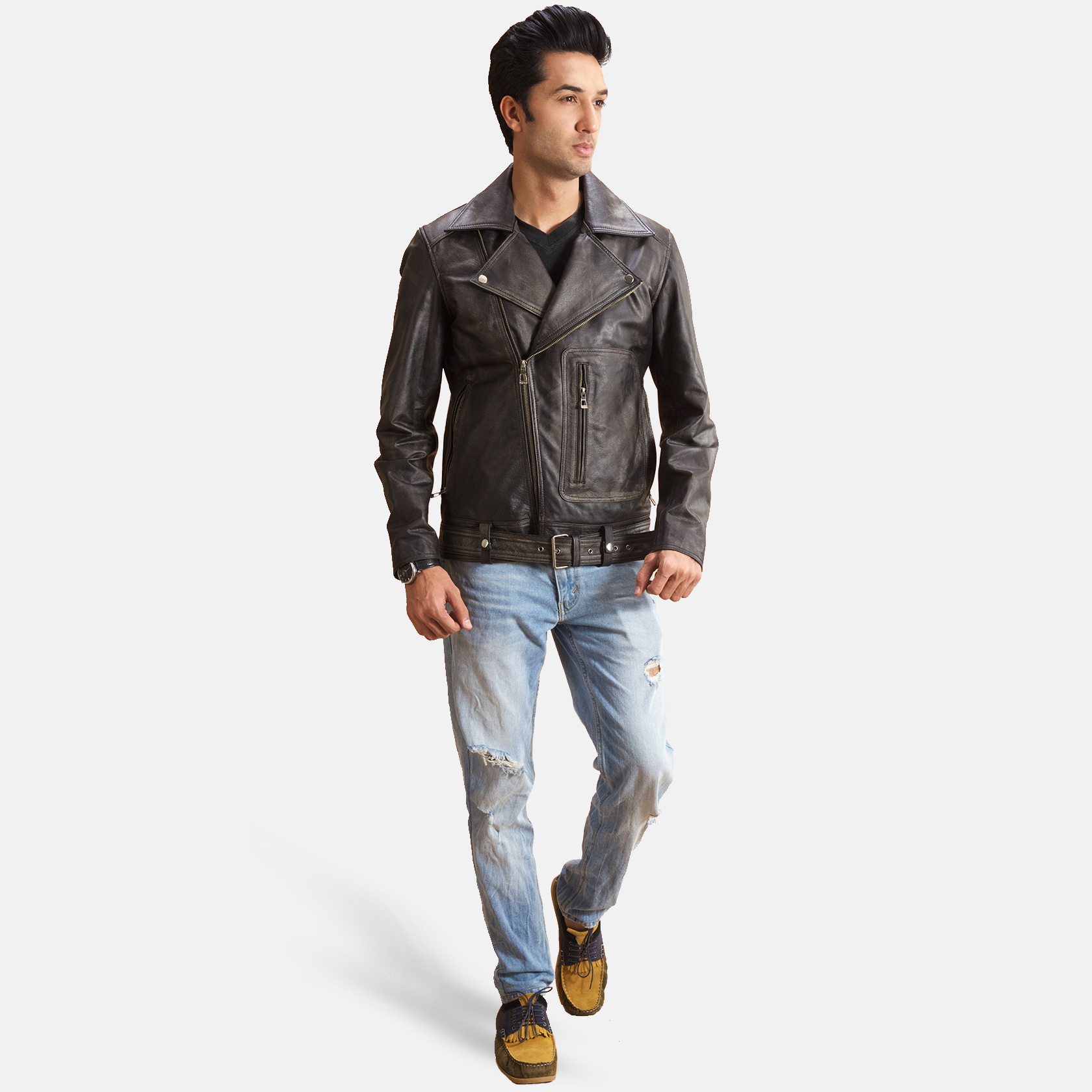 Oliver Basic Buckled Leather Biker Jacket 2