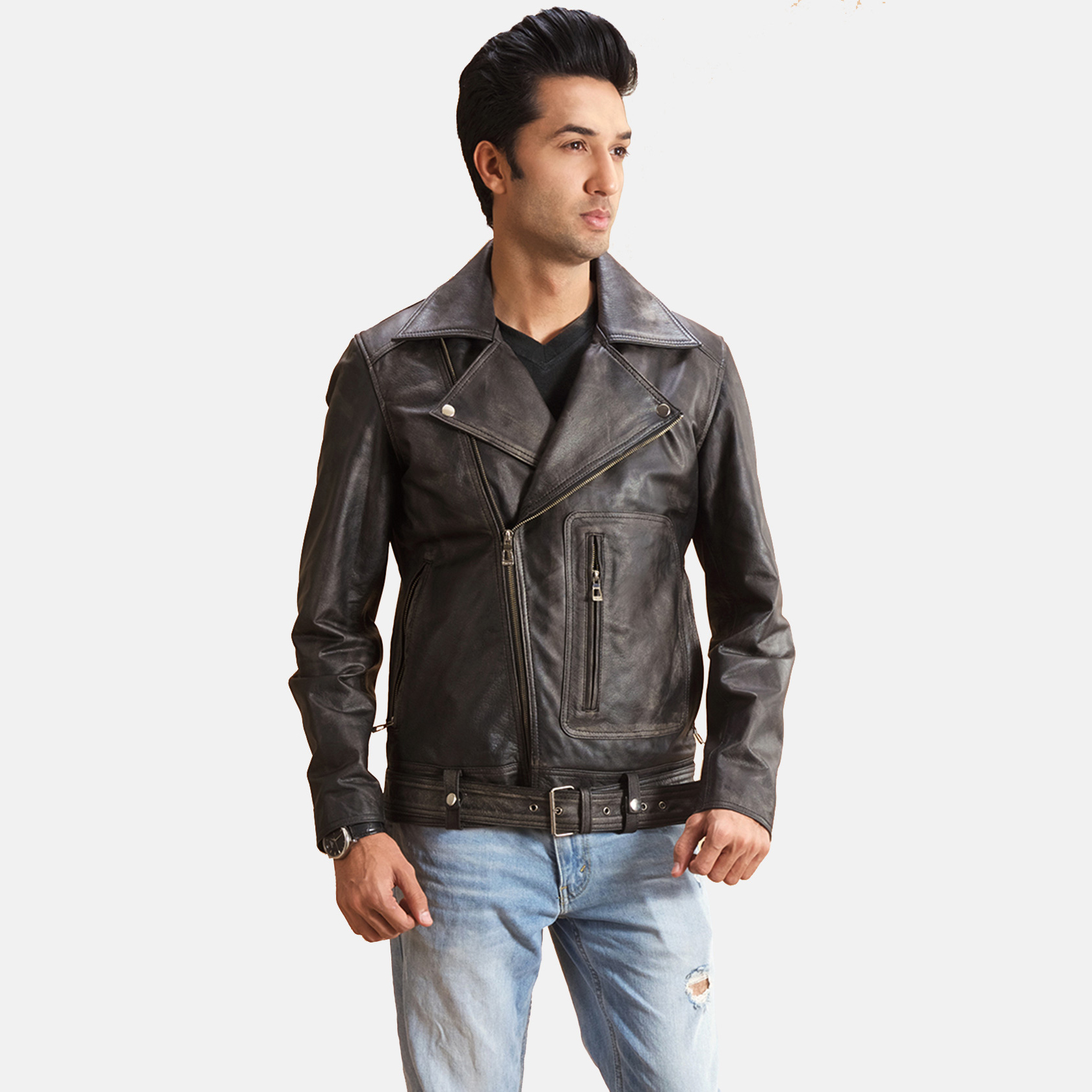 Oliver Basic Buckled Leather Biker Jacket 1