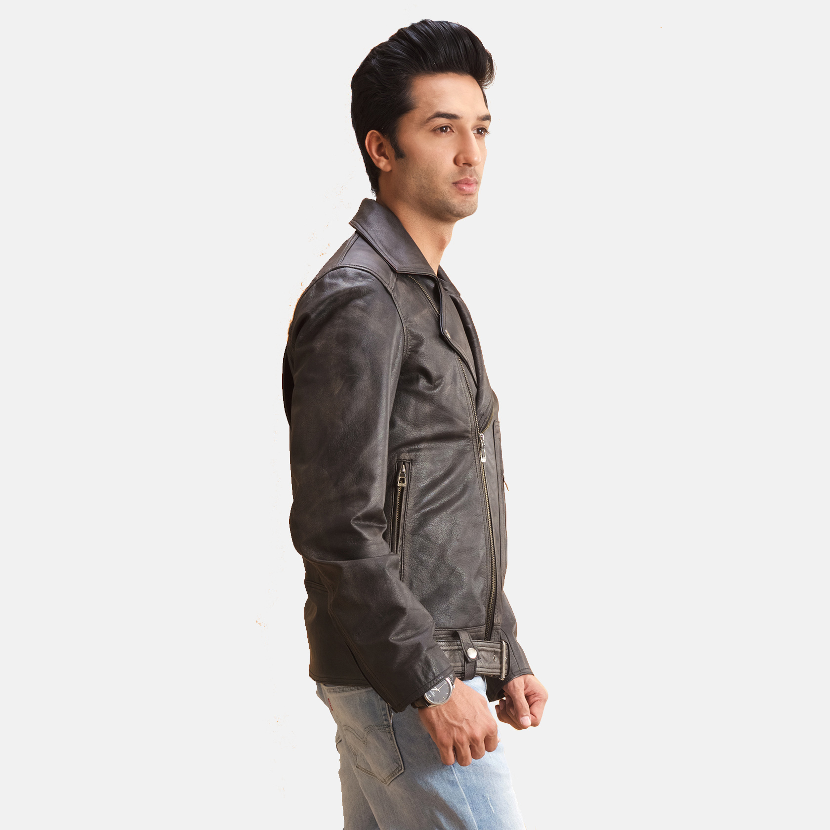 Oliver Basic Buckled Leather Biker Jacket 3