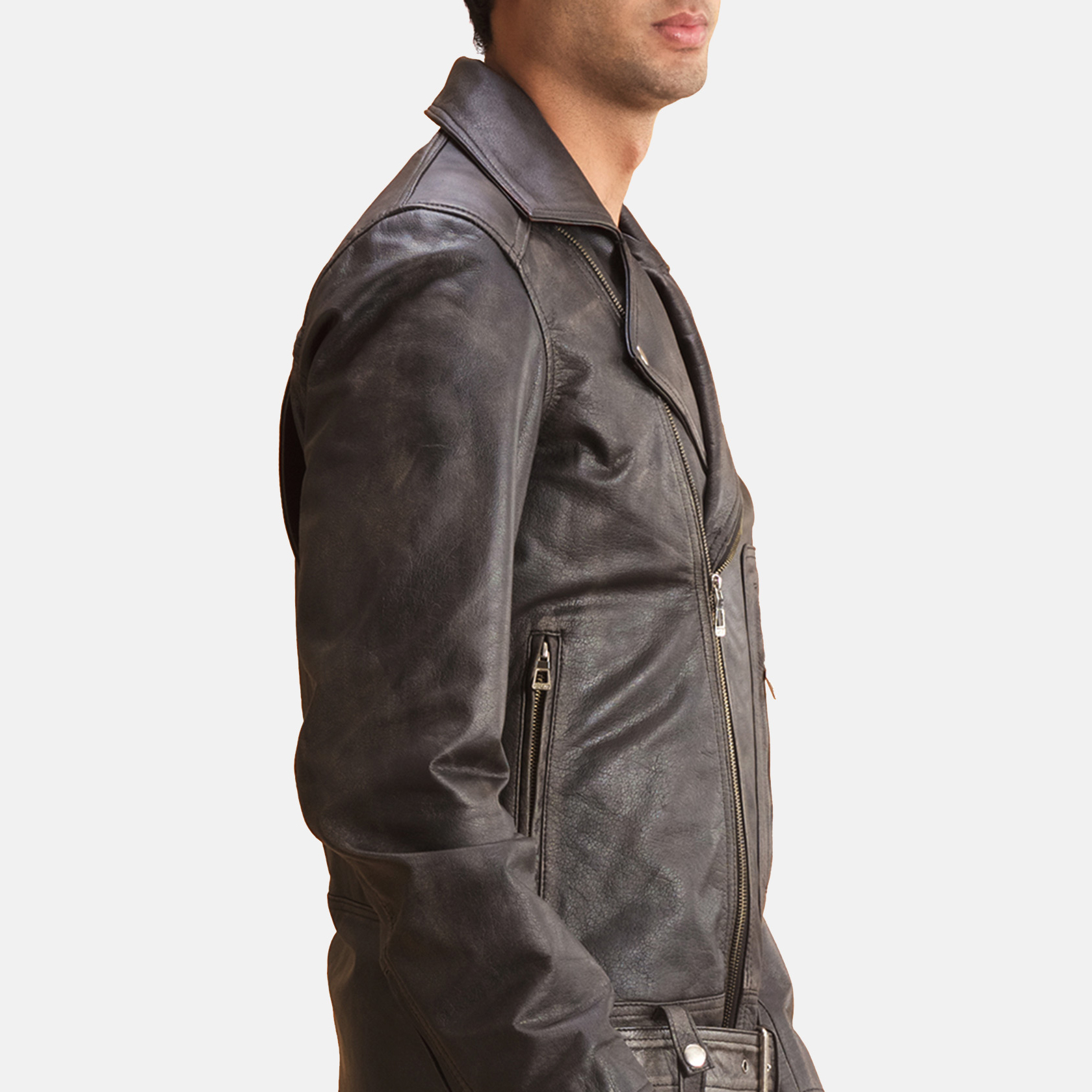 Oliver Basic Buckled Leather Biker Jacket 6
