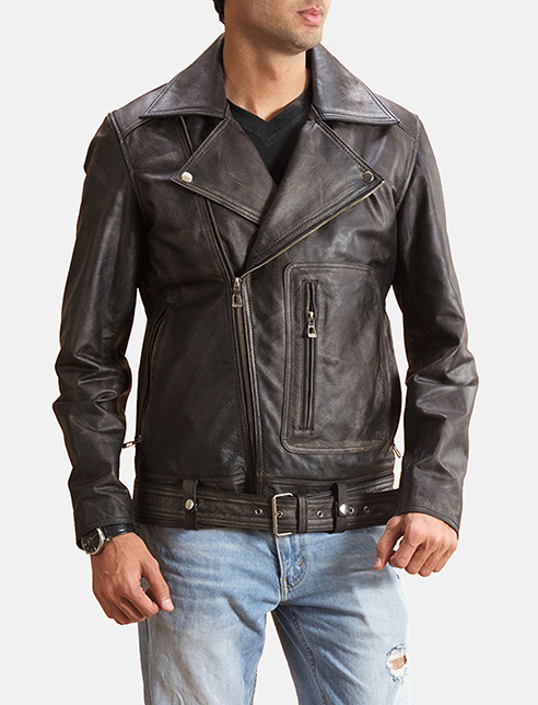Oliver Basic Buckled Leather Biker Jacket