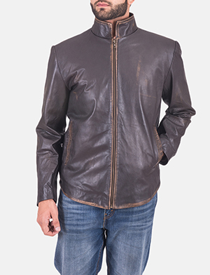 Mens Bikerson Distressed Brown Jacket