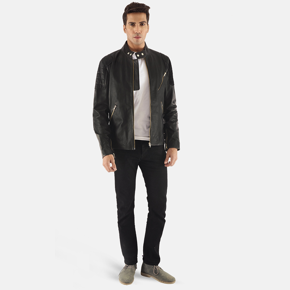 Mens Marlon Black Leather Biker Jacket 1
