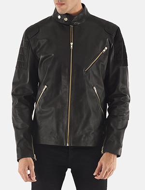 Mens Marlon Black Leather Biker Jacket