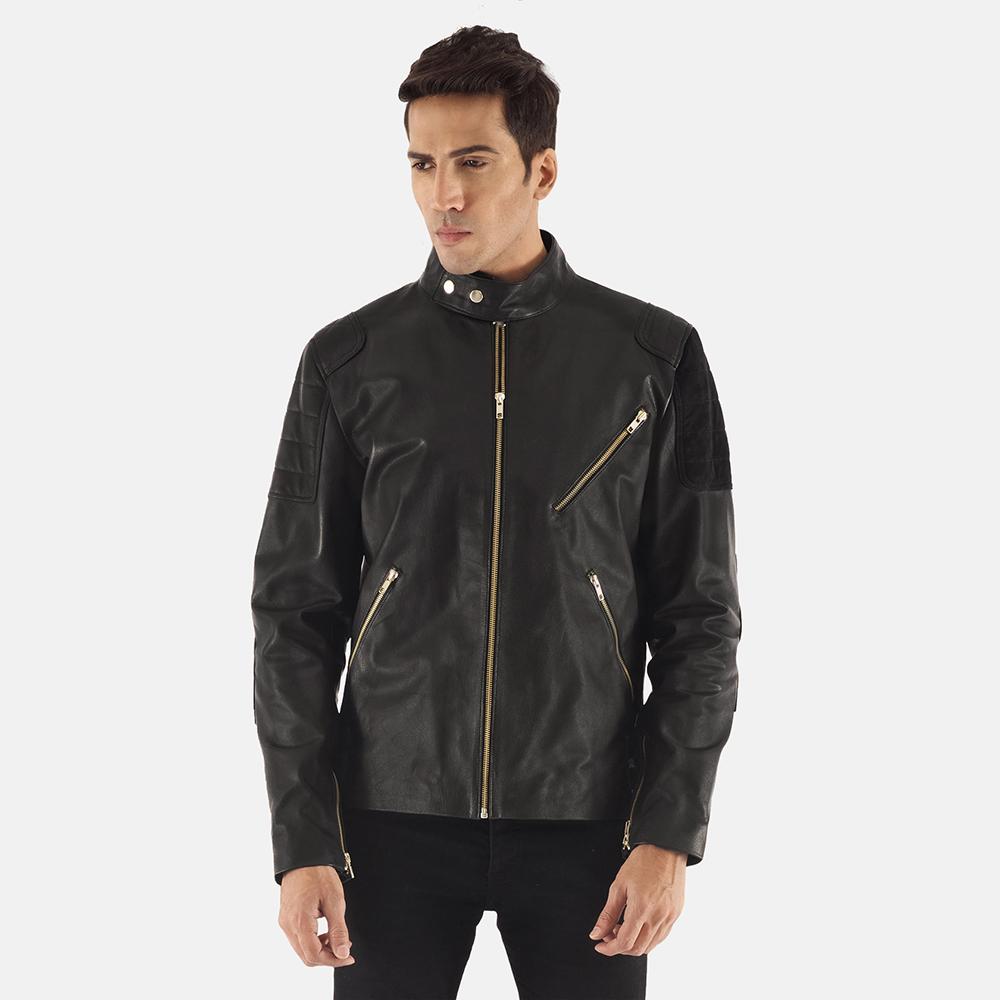 Mens Marlon Black Leather Biker Jacket 2