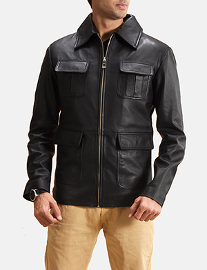 Mens Raven Black Leather Jacket