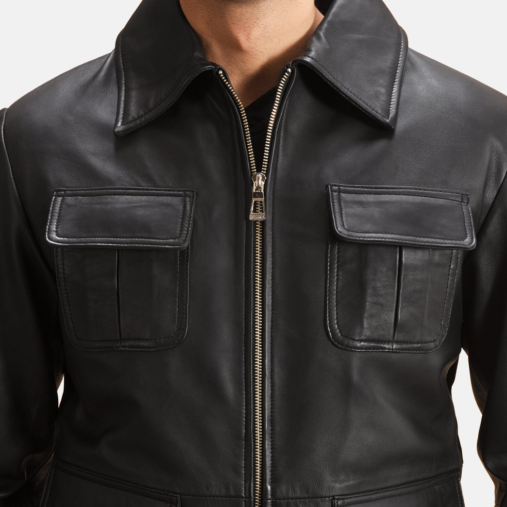 Mens Raven Black Leather Jacket 5