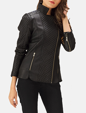Orient Grain Quilted Black Leather Biker Jacket