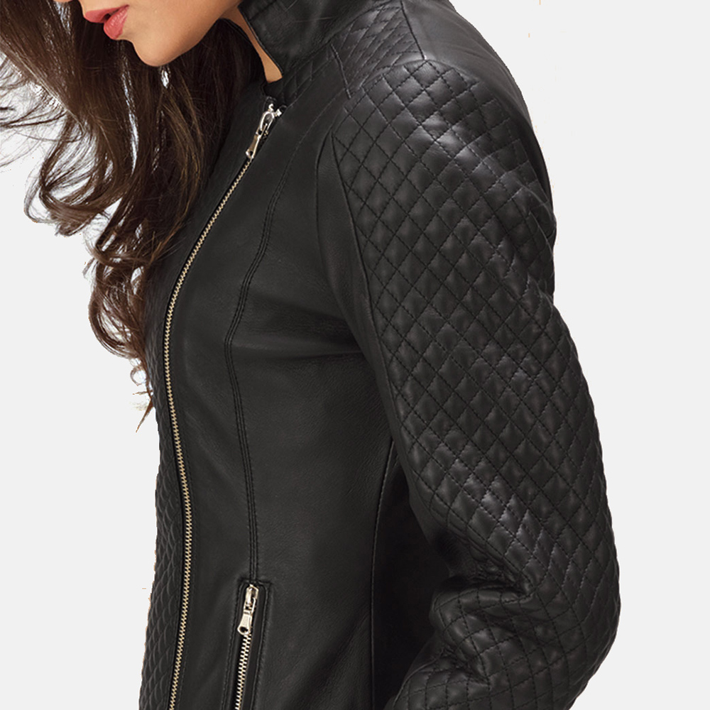 Womens Orient Grain Quilted Black Leather Biker Jacket 3