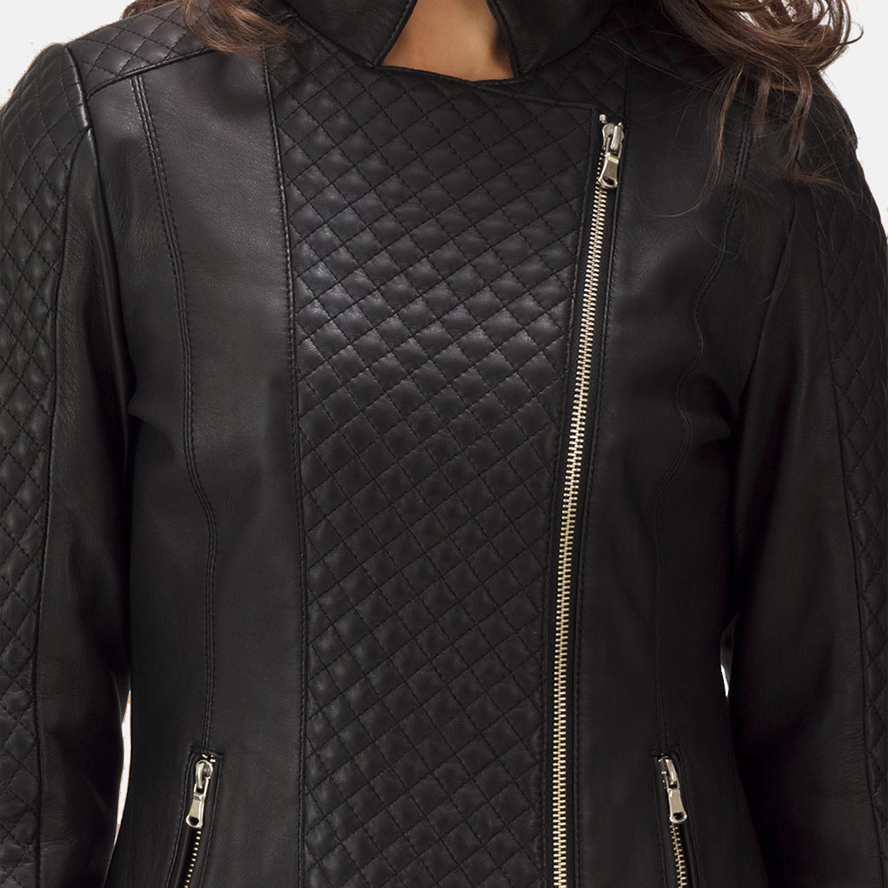 Womens Orient Grain Quilted Black Leather Biker Jacket 5