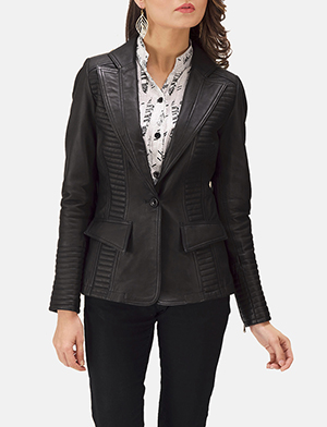 Womens Selina Black Leather Blazer
