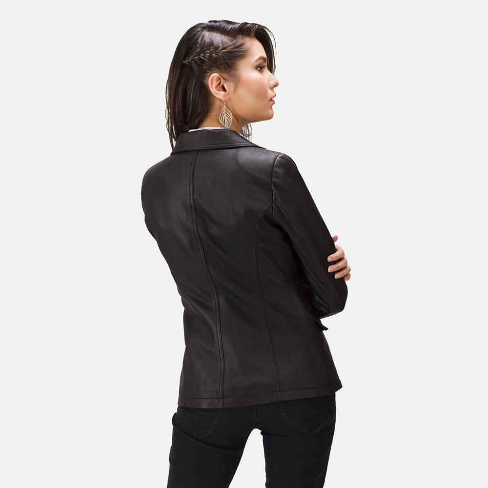 Womens Selina Black Leather Blazer 3