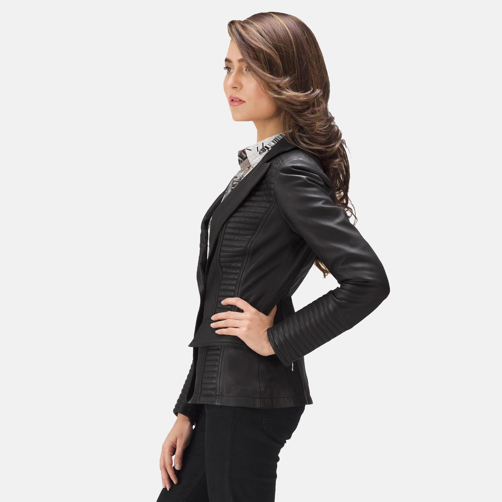 Womens Selina Black Leather Blazer 4
