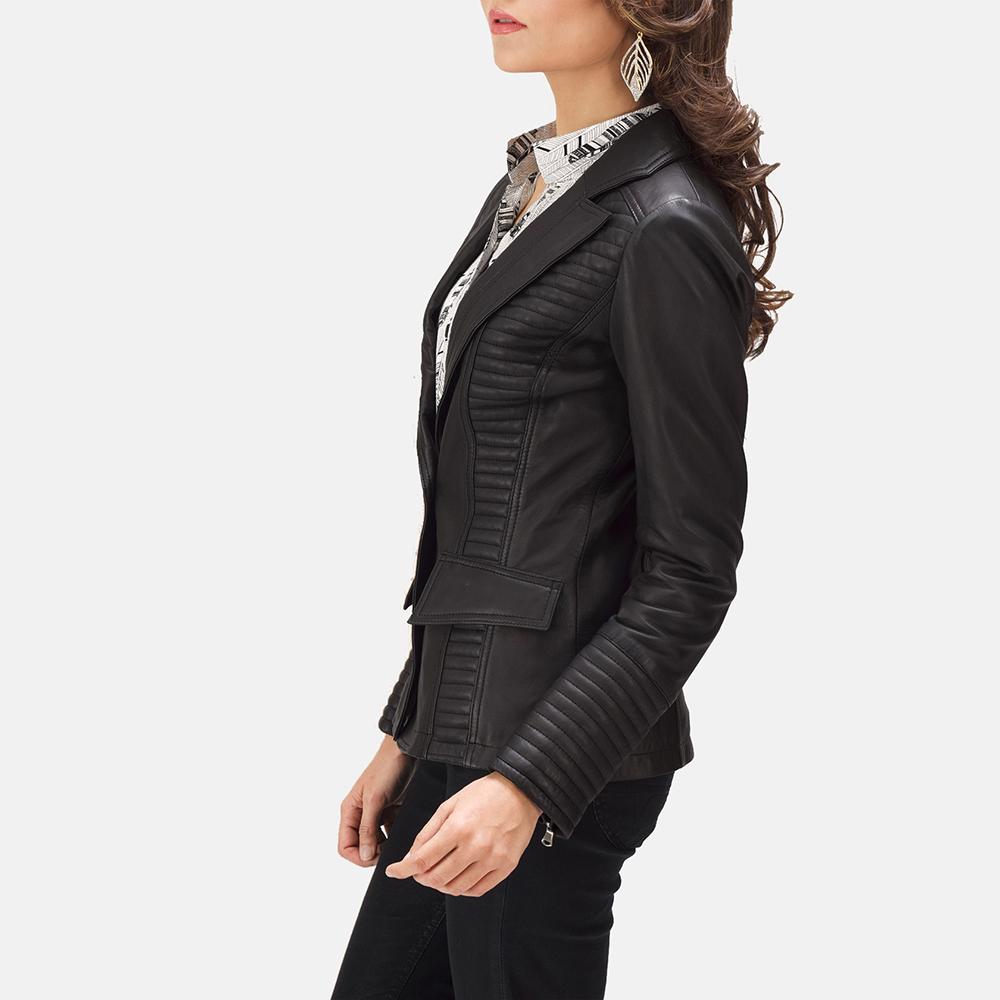 Womens Selina Black Leather Blazer 6