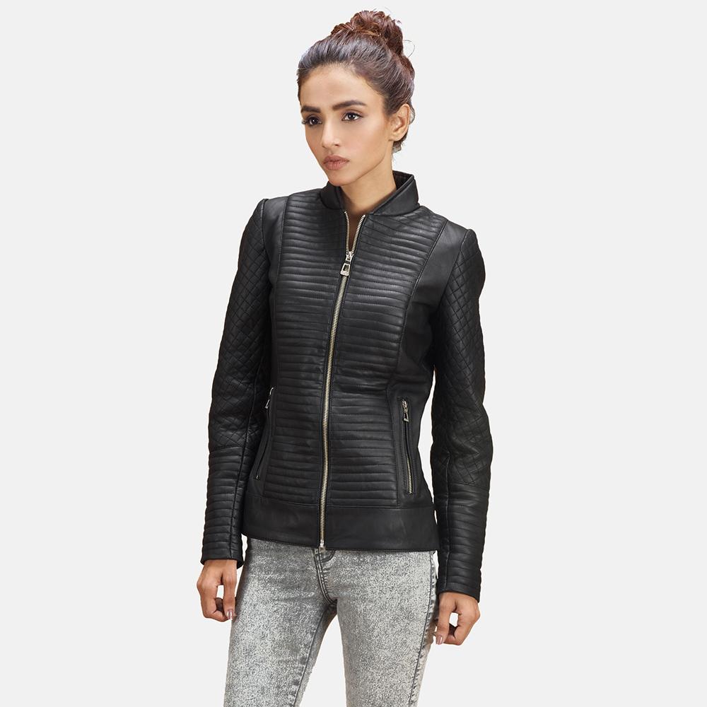 Womens Cityscape Black Leather Biker Jacket 4