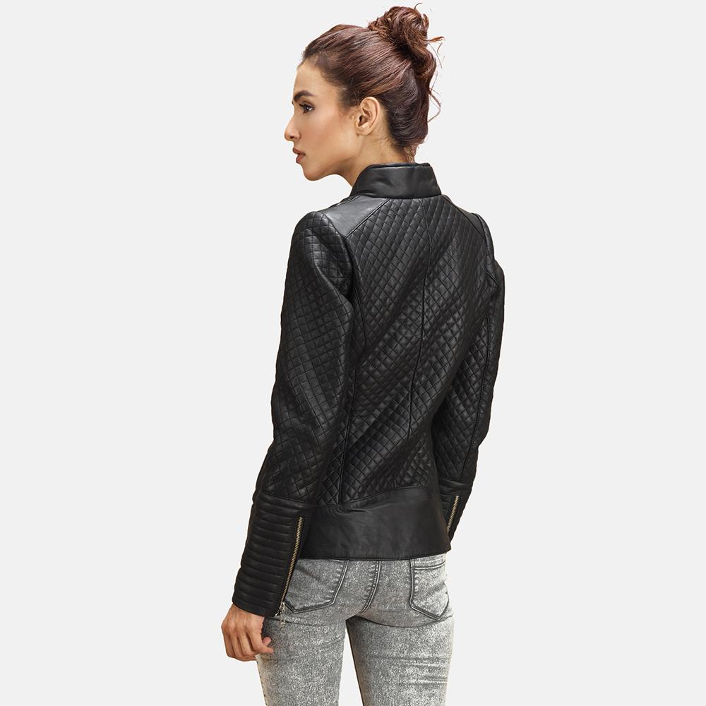 Womens Cityscape Black Leather Biker Jacket 6