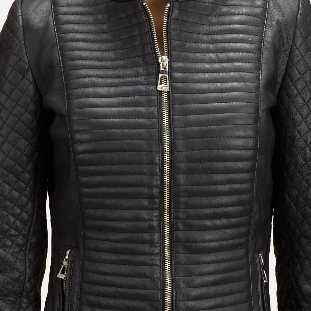 Womens Cityscape Black Leather Biker Jacket 3