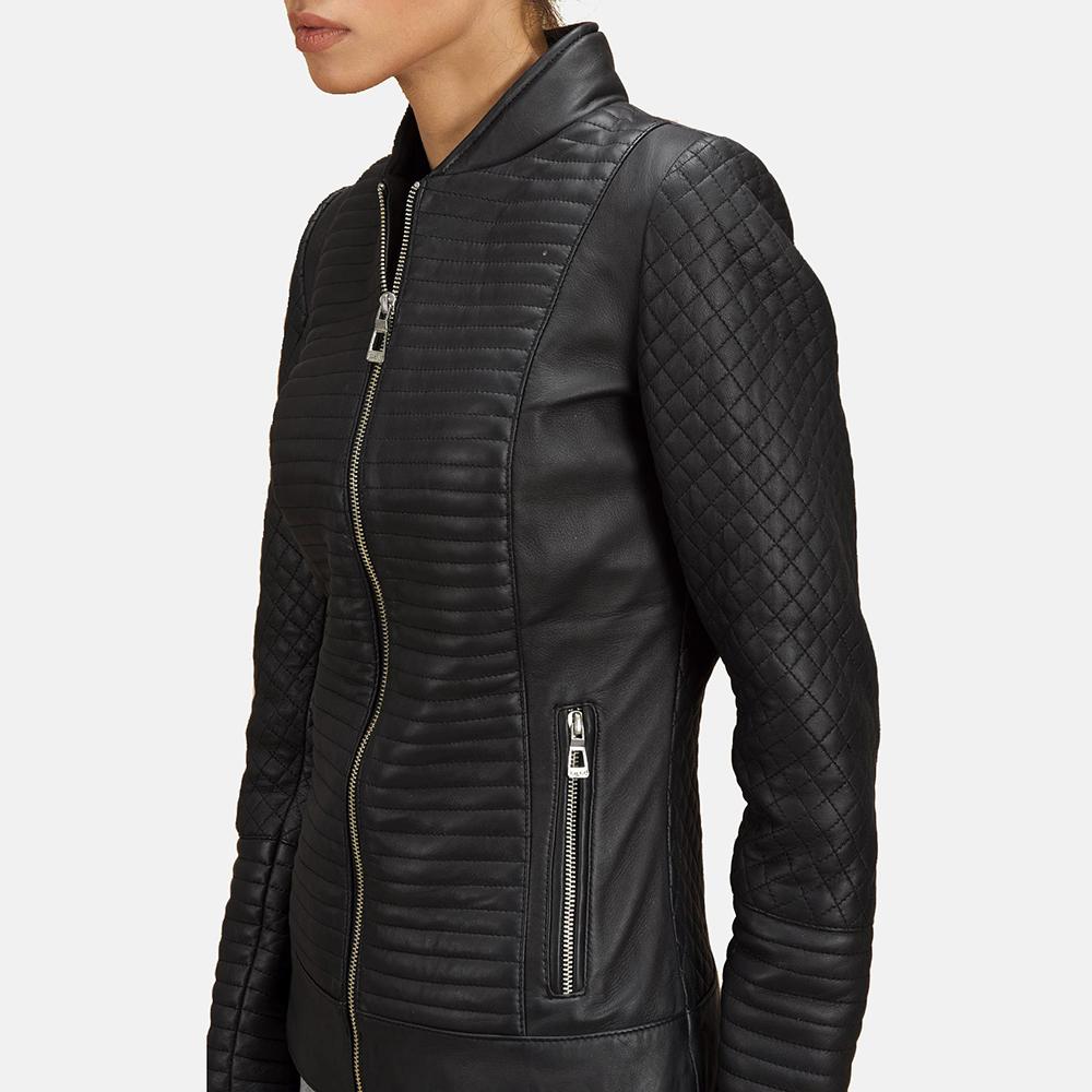 Womens Cityscape Black Leather Biker Jacket 5