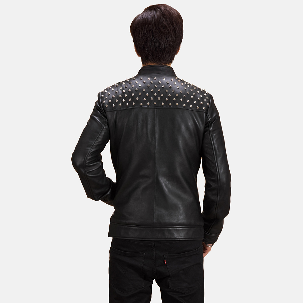 Mens Shapron Studded Leather Biker Jacket 3